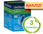 Акция 3 упаковки тест-полосок ВанТач Селект №100 (OneTouch Select). Цена дженерика Diacont 1.